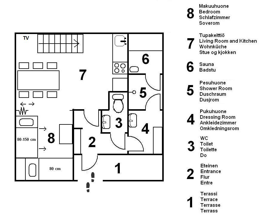 Cottage in enontekio for Sauna layouts floor plans